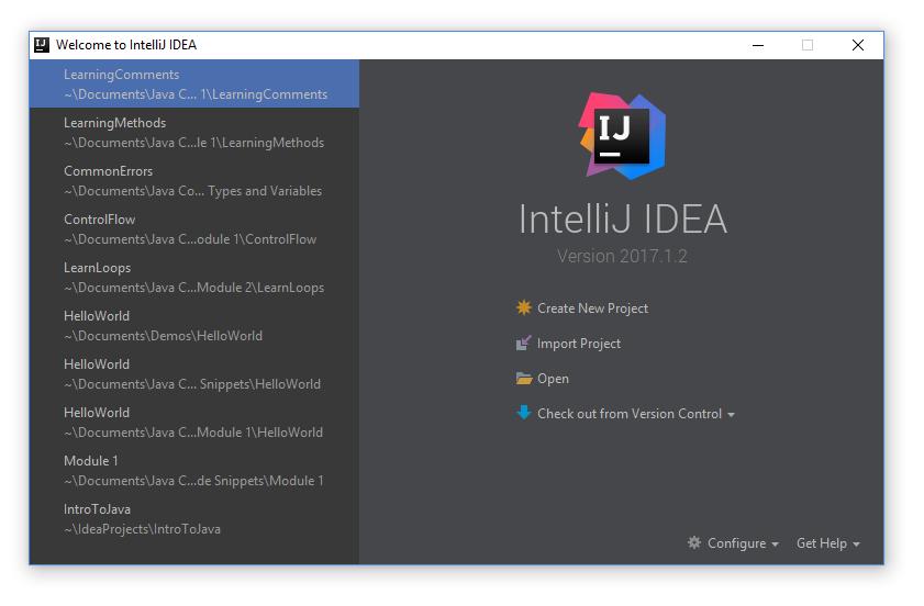 intelliJ new project prompt