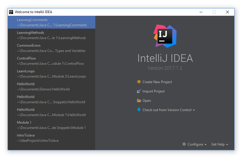 intelliJ new project prompt