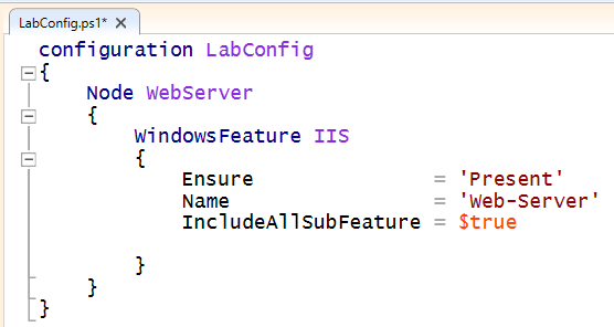 Screenshot of the labconfig.ps1 file completed in the practical exercise. The configuration and node keywords are highlighted. The IIS WindowsFeature is being installed.