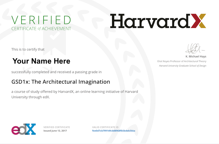 Example of HarvardX certificate with HarvardX and edX logos, faculty signature, and course name