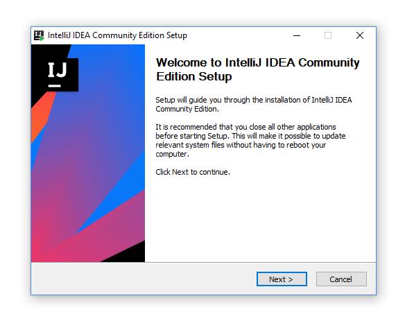 intelliJ install dialog