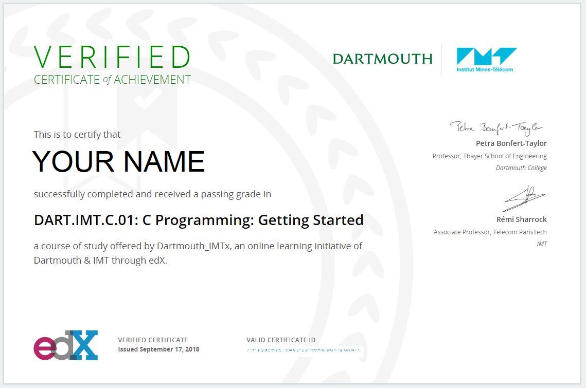 Earn A Professional Certificate Dart Imt C 06 Edx